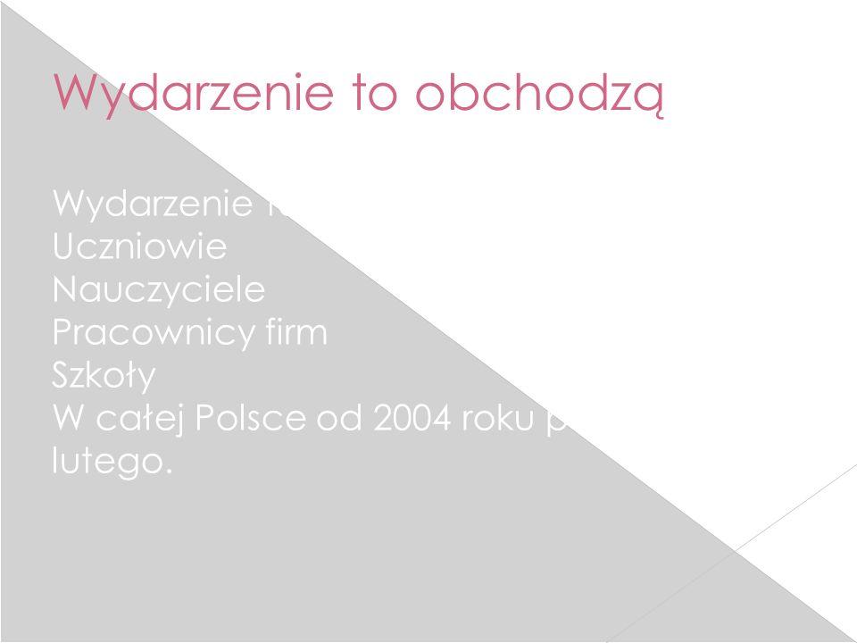 Wydarzenie to obchodzą Wydarzenie to obchodzą: Uczniowie Nauczyciele Pracownicy firm Szkoły W całej Polsce od 2004 roku połowy lutego.