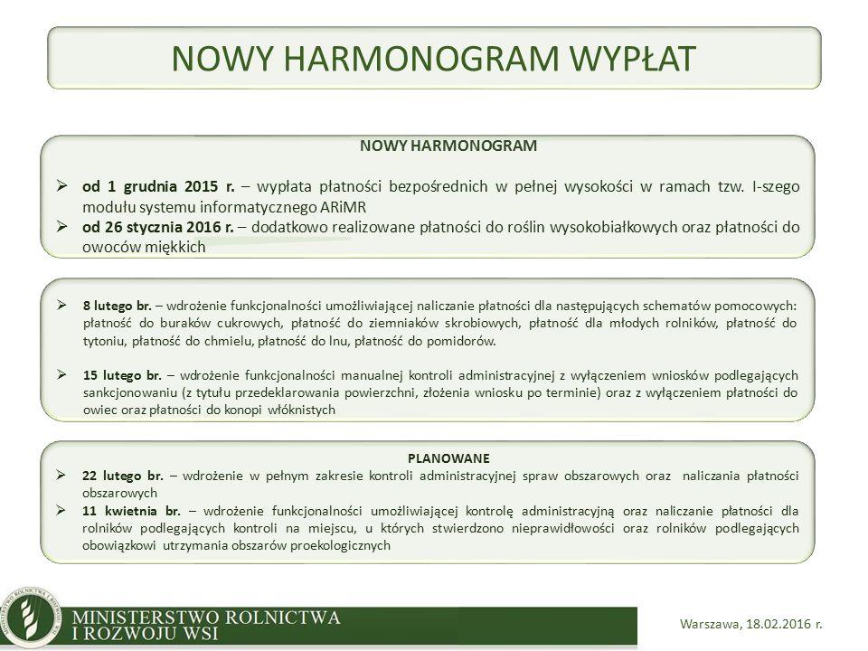 Warszawa, 18.02.2016 r. NOWY HARMONOGRAM  od 1 grudnia 2015 r.