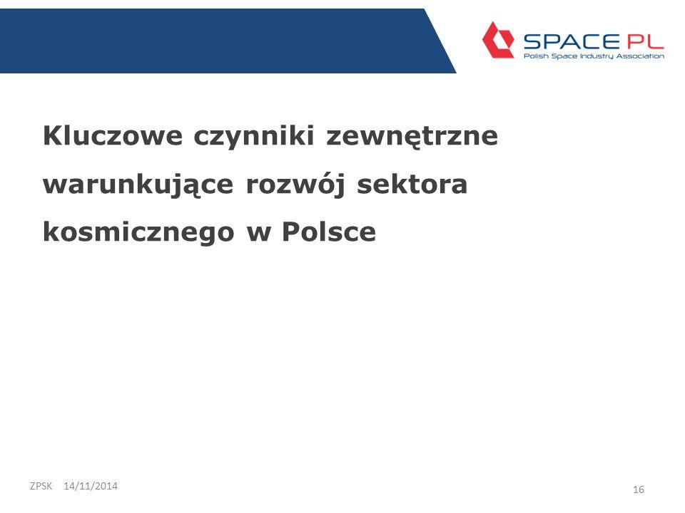 Kluczowe czynniki zewnętrzne warunkujące rozwój sektora kosmicznego w Polsce 14/11/2014ZPSK 16