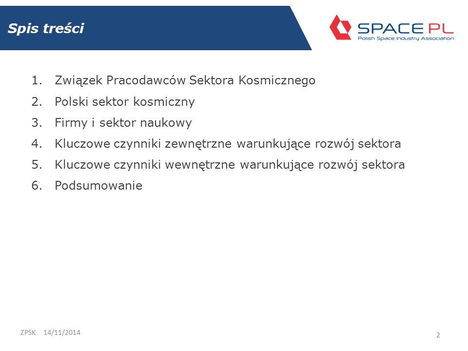 """Czynniki wewnętrzne 14/11/2014ZPSK 23 3.Stworzenie """"Narodowego programu kosmicznego 4."""