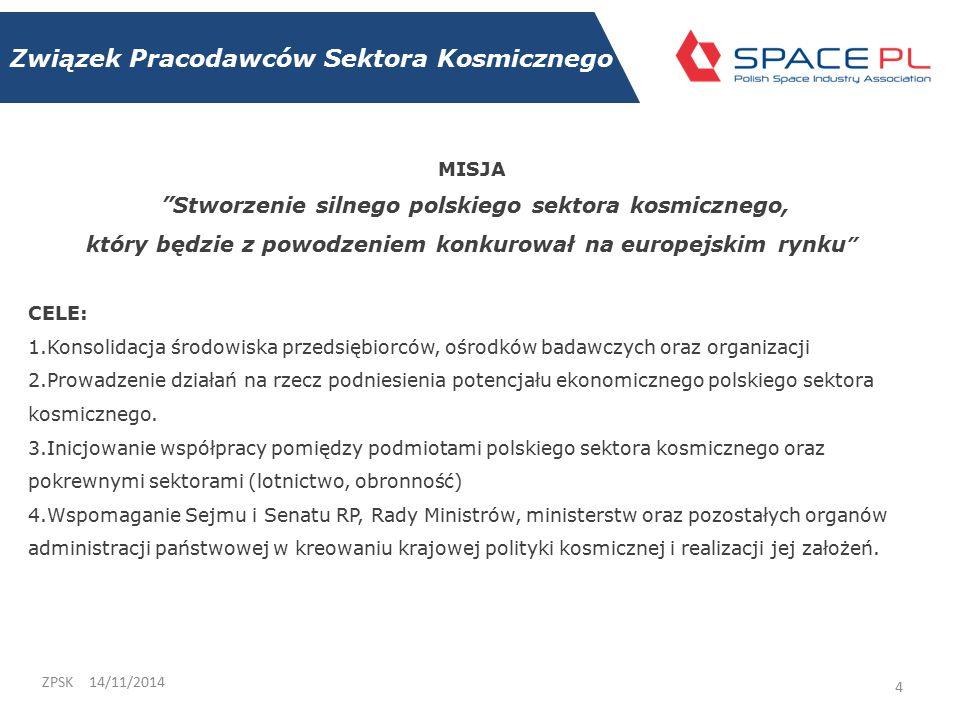 Związek Pracodawców Sektora Kosmicznego 14/11/2014ZPSK 4 MISJA Stworzenie silnego polskiego sektora kosmicznego, który będzie z powodzeniem konkurował na europejskim rynku CELE: 1.Konsolidacja środowiska przedsiębiorców, ośrodków badawczych oraz organizacji 2.Prowadzenie działań na rzecz podniesienia potencjału ekonomicznego polskiego sektora kosmicznego.