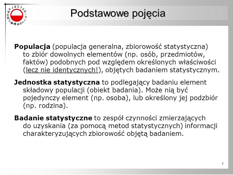 7 Podstawowe pojęcia Populacja (populacja generalna, zbiorowość statystyczna) to zbiór dowolnych elementów (np. osób, przedmiotów, faktów) podobnych p