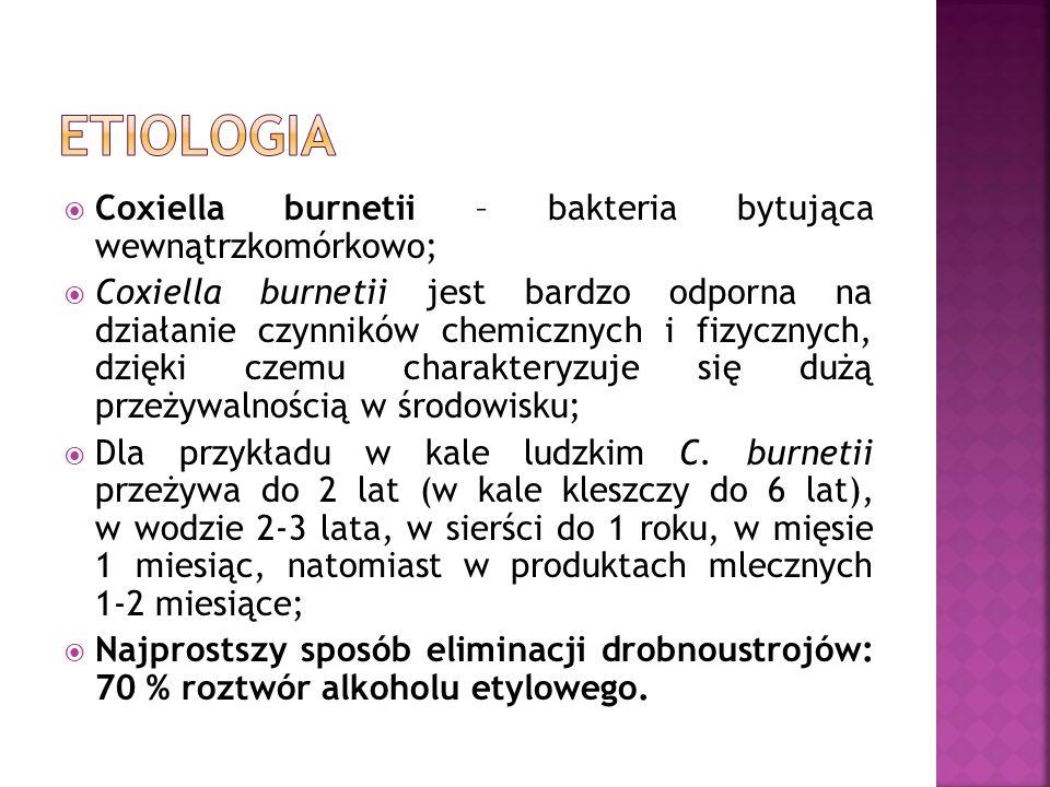  Coxiella burnetii – bakteria bytująca wewnątrzkomórkowo;  Coxiella burnetii jest bardzo odporna na działanie czynników chemicznych i fizycznych, dzięki czemu charakteryzuje się dużą przeżywalnością w środowisku;  Dla przykładu w kale ludzkim C.