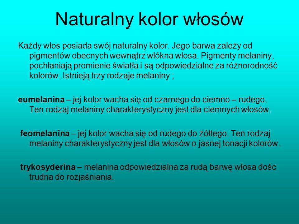 Naturalny kolor włosów Każdy włos posiada swój naturalny kolor. Jego barwa zależy od pigmentów obecnych wewnątrz włókna włosa. Pigmenty melaniny, poch