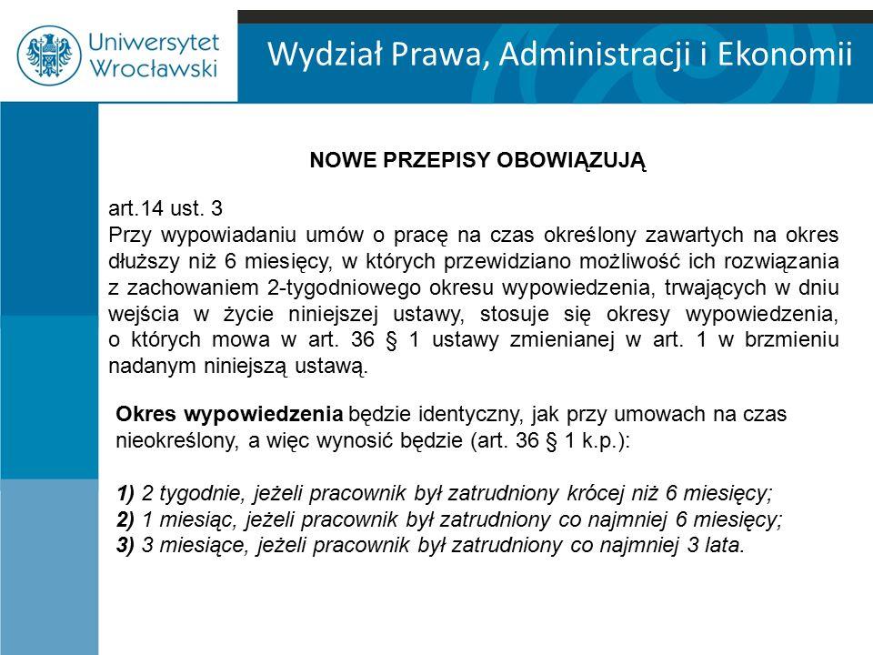 Wydział Prawa, Administracji i Ekonomii art.14 ust.