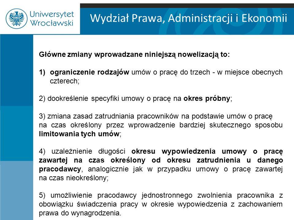 Wydział Prawa, Administracji i Ekonomii Ograniczenie rodzajów umów o pracę ART.