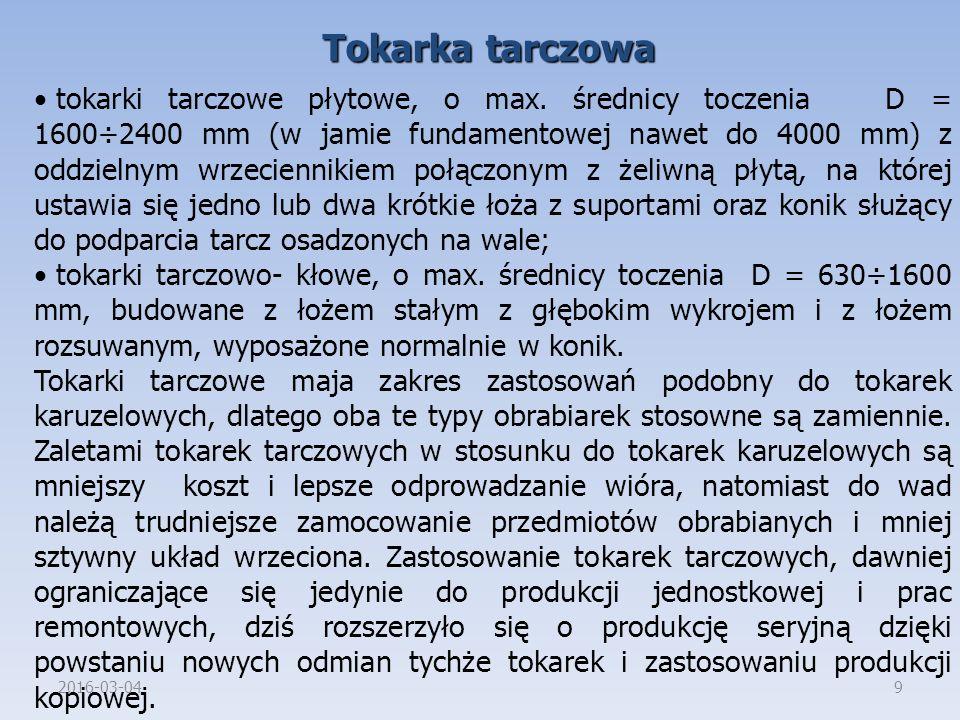 2016-03-049 Tokarka tarczowa tokarki tarczowe płytowe, o max.