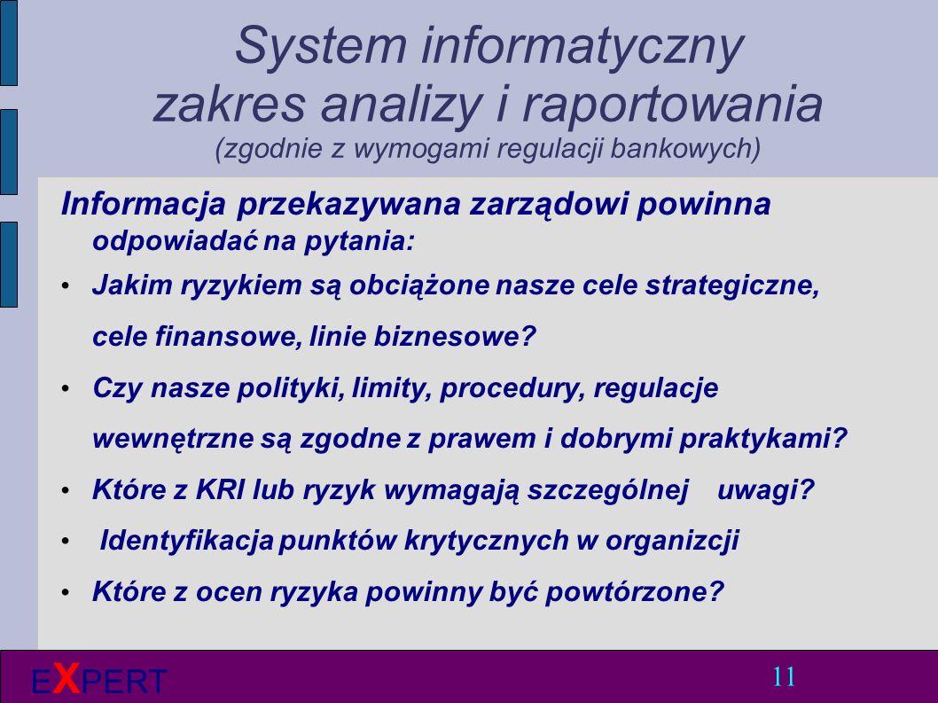 System informatyczny zakres analizy i raportowania (zgodnie z wymogami regulacji bankowych) Informacja przekazywana zarządowi powinna odpowiadać na pytania: Jakim ryzykiem są obciążone nasze cele strategiczne, cele finansowe, linie biznesowe.