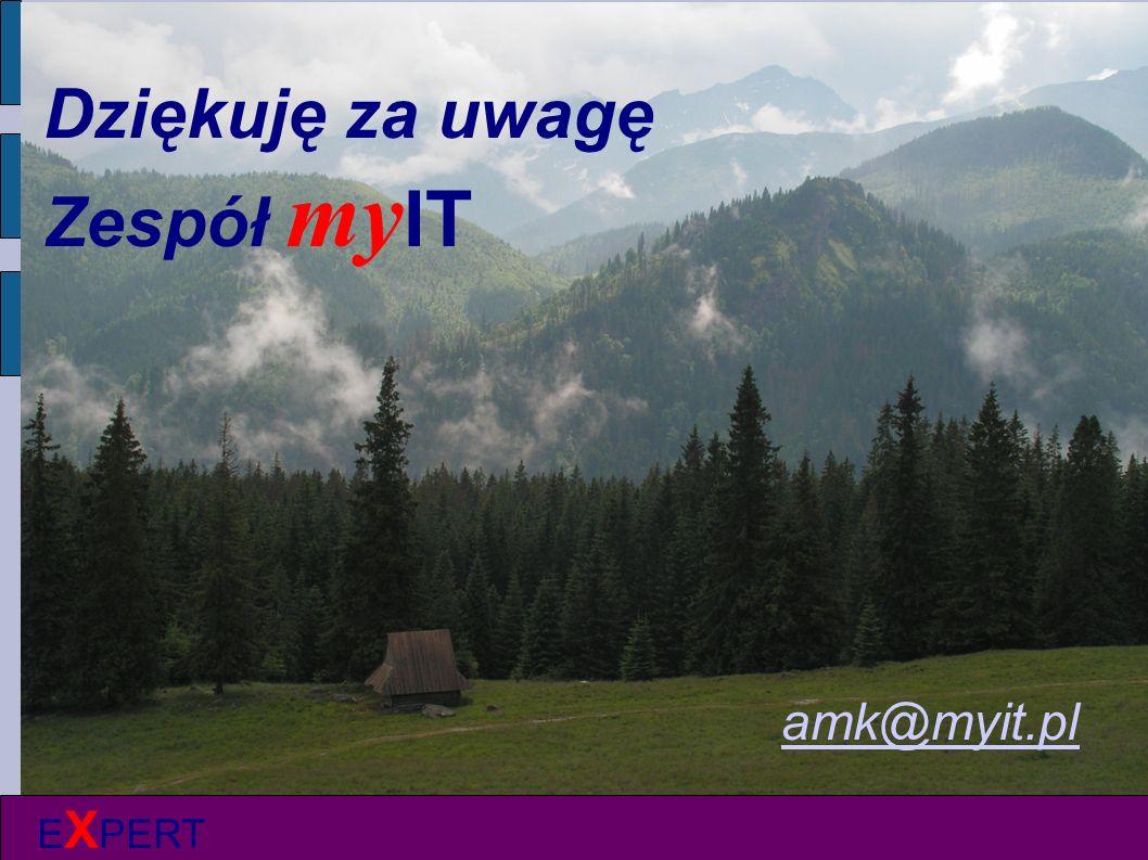 E X PERT Dziękuję za uwagę Zespół my IT amk@myit.pl