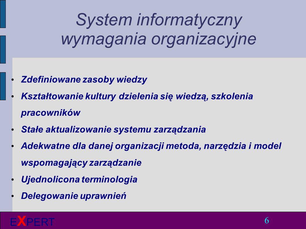 System informatyczny wymagania organizacyjne Zdefiniowane zasoby wiedzy Kształtowanie kultury dzielenia się wiedzą, szkolenia pracowników Stałe aktualizowanie systemu zarządzania Adekwatne dla danej organizacji metoda, narzędzia i model wspomagający zarządzanie Ujednolicona terminologia Delegowanie uprawnień 6 E X PERT
