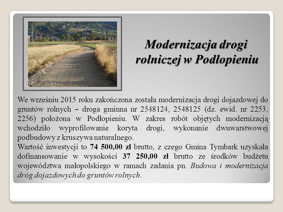 Modernizacja drogi rolniczej w Podłopieniu We wrześniu 2015 roku zakończona została modernizacja drogi dojazdowej do gruntów rolnych ‒ droga gminna nr 2548124, 2548125 (dz.