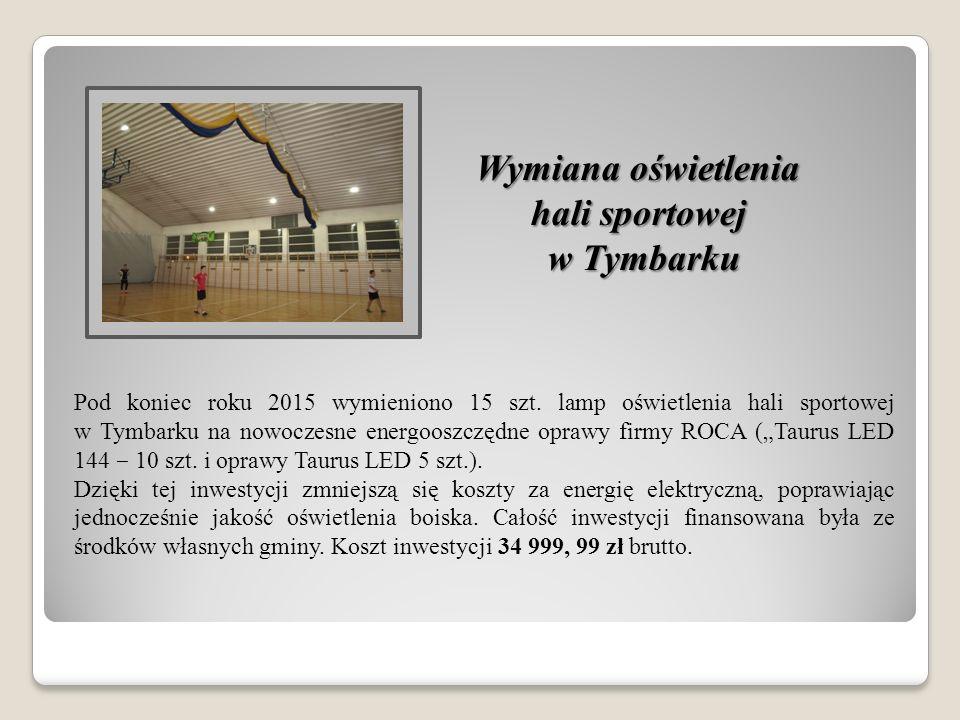 Wymiana oświetlenia hali sportowej w Tymbarku Pod koniec roku 2015 wymieniono 15 szt.