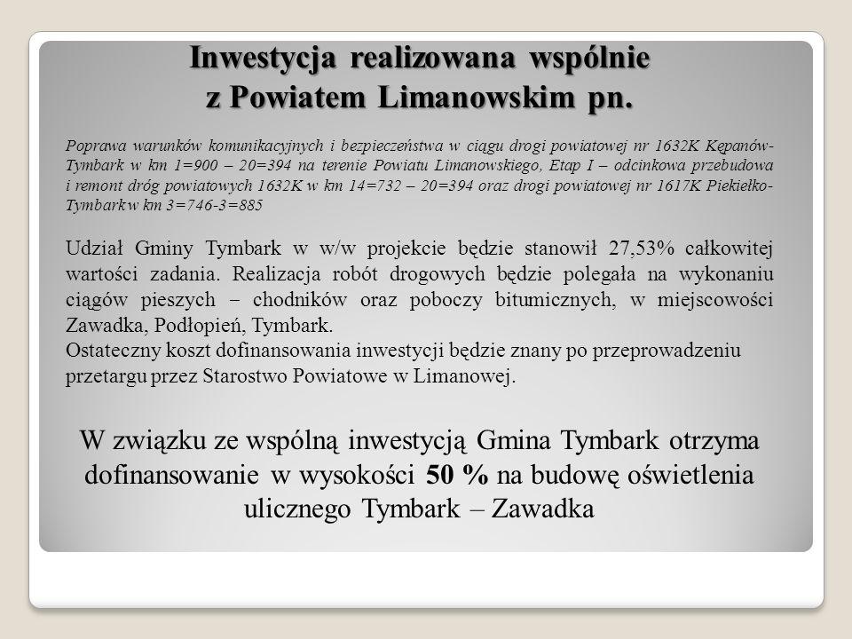 Inwestycja realizowana wspólnie z Powiatem Limanowskim pn. Poprawa warunków komunikacyjnych i bezpieczeństwa w ciągu drogi powiatowej nr 1632K Kępanów