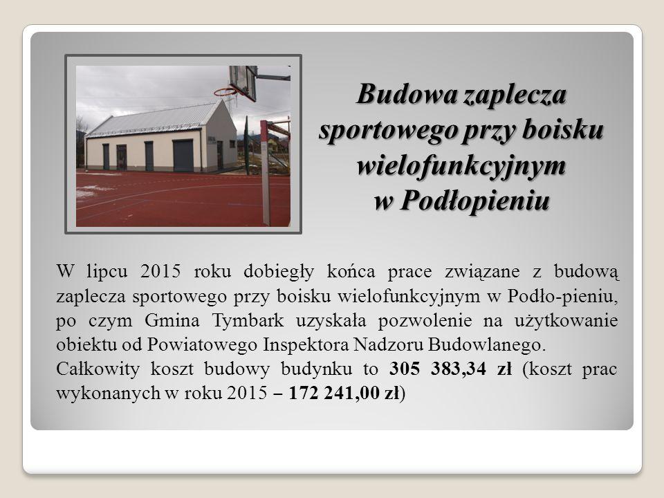 W lipcu 2015 roku dobiegły końca prace związane z budową zaplecza sportowego przy boisku wielofunkcyjnym w Podło-pieniu, po czym Gmina Tymbark uzyskał