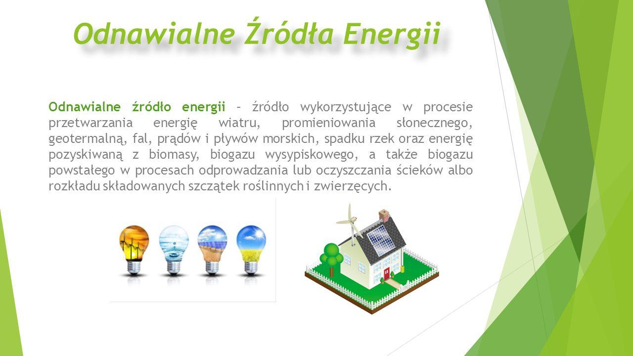Odnawialne źródło energii – źródło wykorzystujące w procesie przetwarzania energię wiatru, promieniowania słonecznego, geotermalną, fal, prądów i pływ