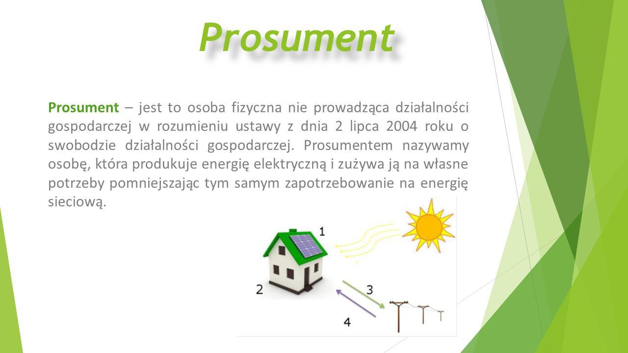 Prosument Prosument – jest to osoba fizyczna nie prowadząca działalności gospodarczej w rozumieniu ustawy z dnia 2 lipca 2004 roku o swobodzie działal