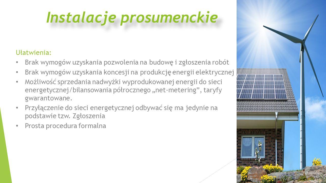 Ułatwienia: Brak wymogów uzyskania pozwolenia na budowę i zgłoszenia robót Brak wymogów uzyskania koncesji na produkcję energii elektrycznej Możliwość