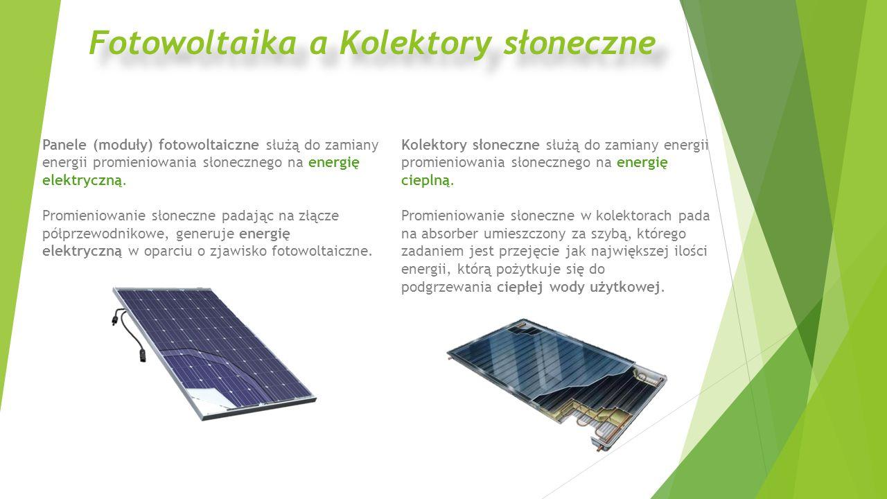 Panele (moduły) fotowoltaiczne służą do zamiany energii promieniowania słonecznego na energię elektryczną. Promieniowanie słoneczne padając na złącze