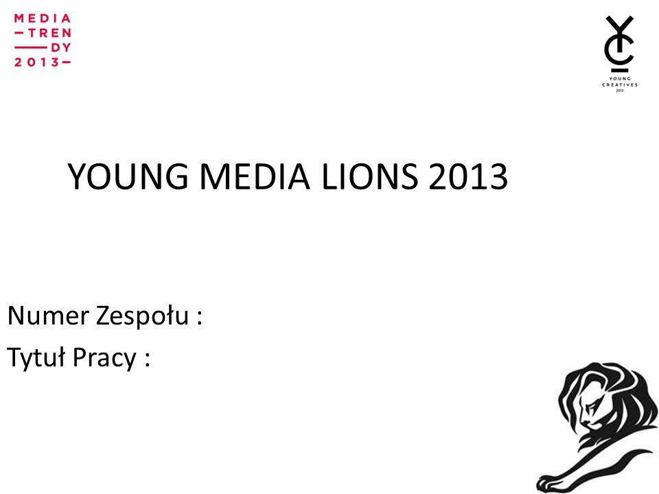 YOUNG MEDIA LIONS 2013IONS Numer Zespołu : Tytuł Pracy :