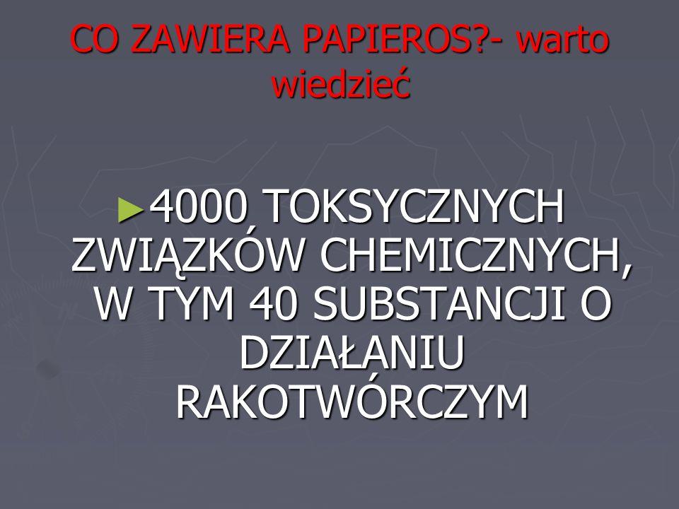 CO ZAWIERA PAPIEROS?- warto wiedzieć ► 4000 TOKSYCZNYCH ZWIĄZKÓW CHEMICZNYCH, W TYM 40 SUBSTANCJI O DZIAŁANIU RAKOTWÓRCZYM