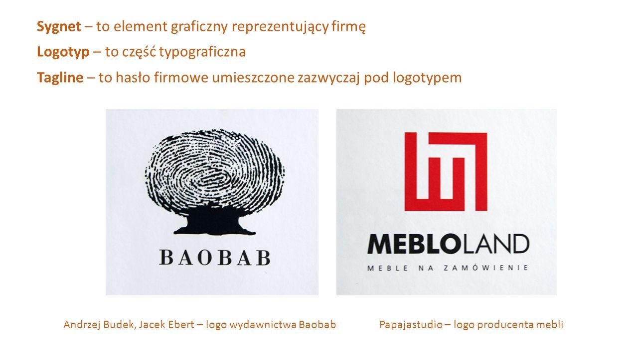 Sygnet – to element graficzny reprezentujący firmę Logotyp – to część typograficzna Tagline – to hasło firmowe umieszczone zazwyczaj pod logotypem And