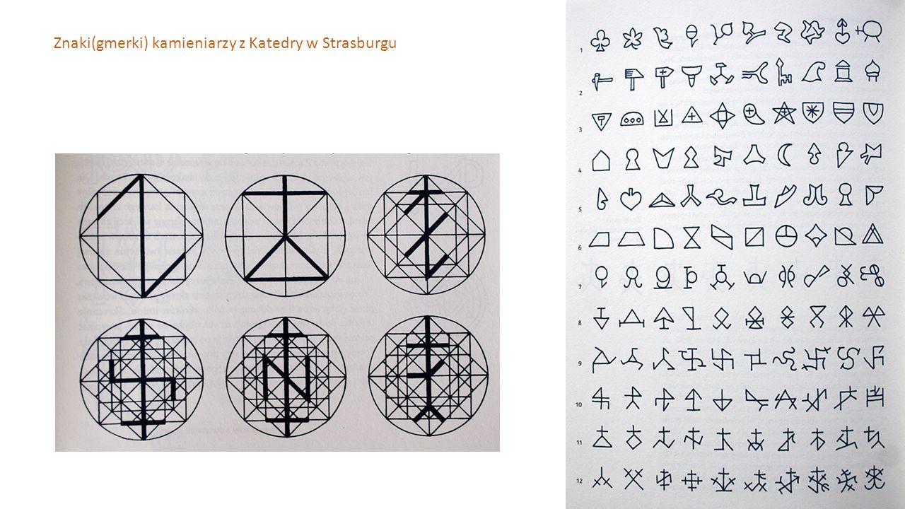 Znaki(gmerki) kamieniarzy z Katedry w Strasburgu
