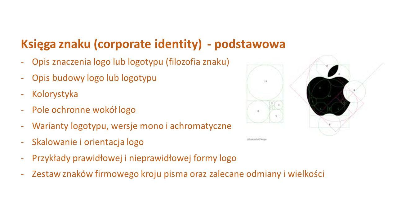 Księga znaku (corporate identity) - podstawowa -Opis znaczenia logo lub logotypu (filozofia znaku) -Opis budowy logo lub logotypu -Kolorystyka -Pole o