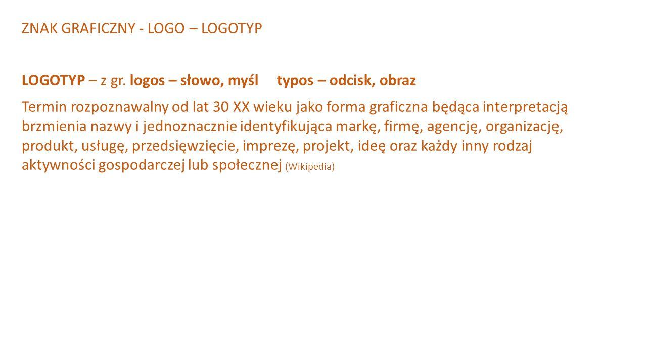 ZNAK GRAFICZNY - LOGO – LOGOTYP LOGOTYP – z gr. logos – słowo, myśl typos – odcisk, obraz Termin rozpoznawalny od lat 30 XX wieku jako forma graficzna