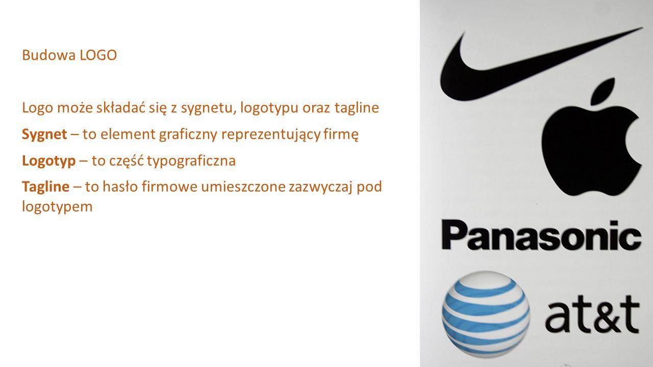 Budowa LOGO Logo może składać się z sygnetu, logotypu oraz tagline Sygnet – to element graficzny reprezentujący firmę Logotyp – to część typograficzna