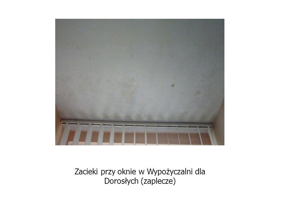 Zacieki przy oknie w Wypożyczalni dla Dorosłych (zaplecze)