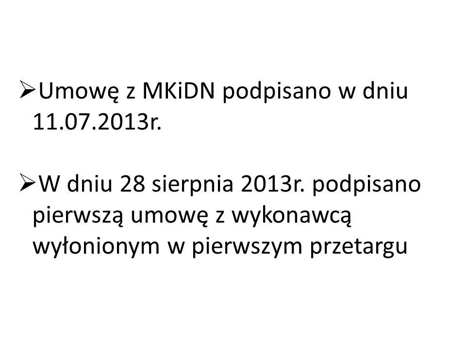  Umowę z MKiDN podpisano w dniu 11.07.2013r.  W dniu 28 sierpnia 2013r. podpisano pierwszą umowę z wykonawcą wyłonionym w pierwszym przetargu