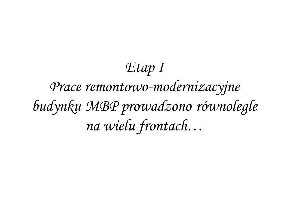 Etap I Prace remontowo-modernizacyjne budynku MBP prowadzono równolegle na wielu frontach…