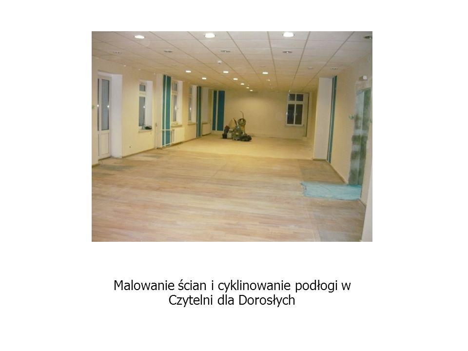 Malowanie ścian i cyklinowanie podłogi w Czytelni dla Dorosłych