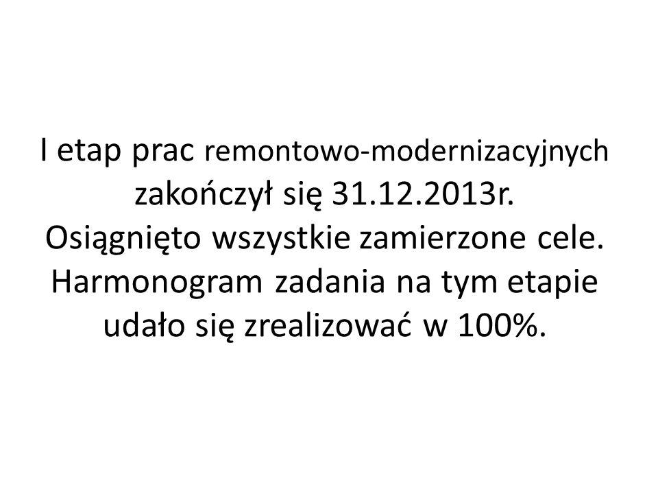 I etap prac remontowo-modernizacyjnych zakończył się 31.12.2013r. Osiągnięto wszystkie zamierzone cele. Harmonogram zadania na tym etapie udało się zr