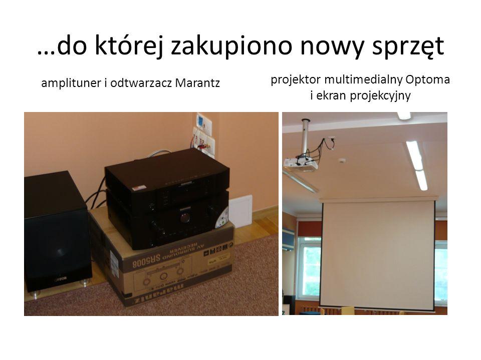 …do której zakupiono nowy sprzęt projektor multimedialny Optoma i ekran projekcyjny amplituner i odtwarzacz Marantz