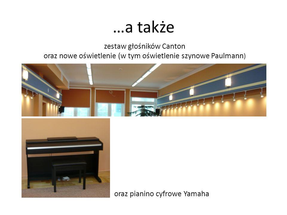 zestaw głośników Canton oraz nowe oświetlenie (w tym oświetlenie szynowe Paulmann ) oraz pianino cyfrowe Yamaha …a także