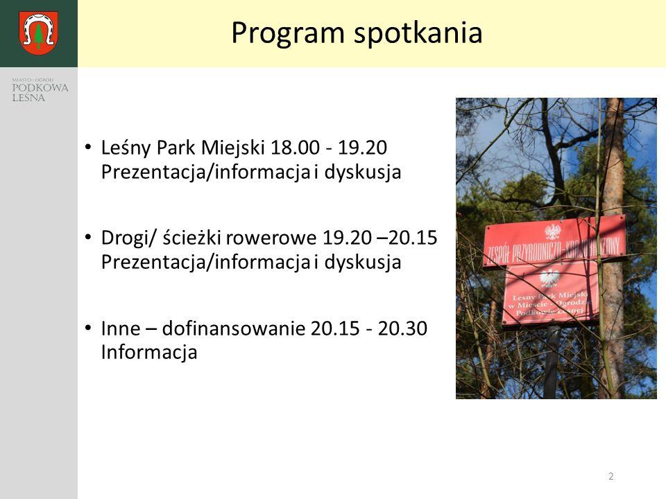 3 Leśny Park Miejski Zarys podejmowanych działań Projekt rewitalizacji Parku Miejskiego w Podkowie Leśnej – kier.