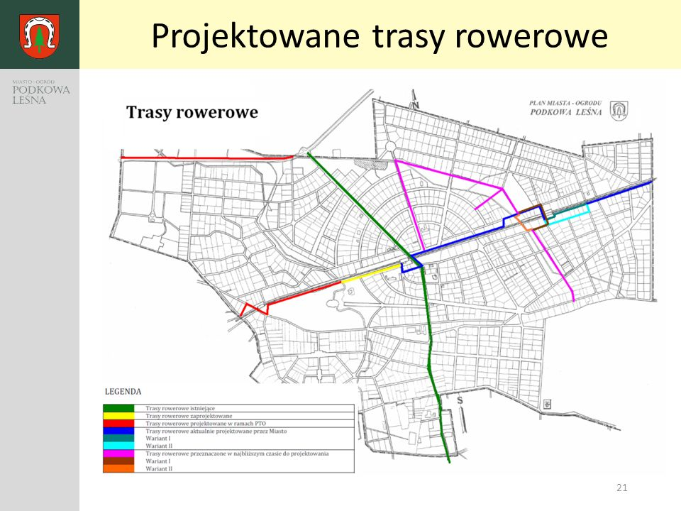 21 Projektowane trasy rowerowe