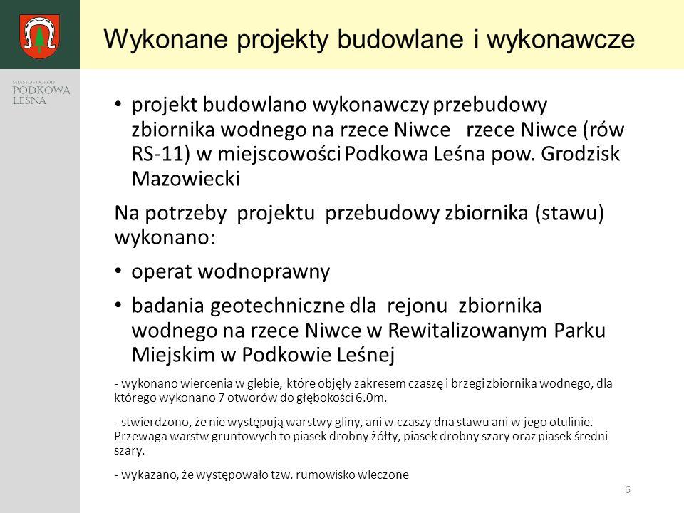 6 projekt budowlano wykonawczy przebudowy zbiornika wodnego na rzece Niwce rzece Niwce (rów RS-11) w miejscowości Podkowa Leśna pow. Grodzisk Mazowiec