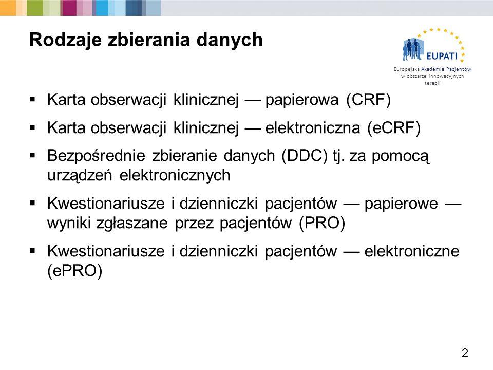 Europejska Akademia Pacjentów w obszarze innowacyjnych terapii  Zaprojektowane na potrzeby ręcznego wprowadzania danych i umożliwiające i późniejsze rozpoznawanie za pomocą technologii OCR  Zbierane, przesyłane pocztą lub faksem 3 Papierowe karty CRF