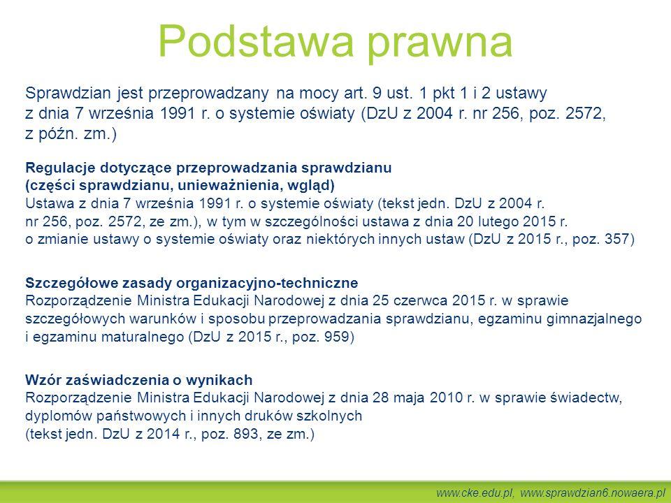 www.cke.edu.pl, www.sprawdzian6.nowaera.pl Podstawa prawna Sprawdzian jest przeprowadzany na mocy art. 9 ust. 1 pkt 1 i 2 ustawy z dnia 7 września 199