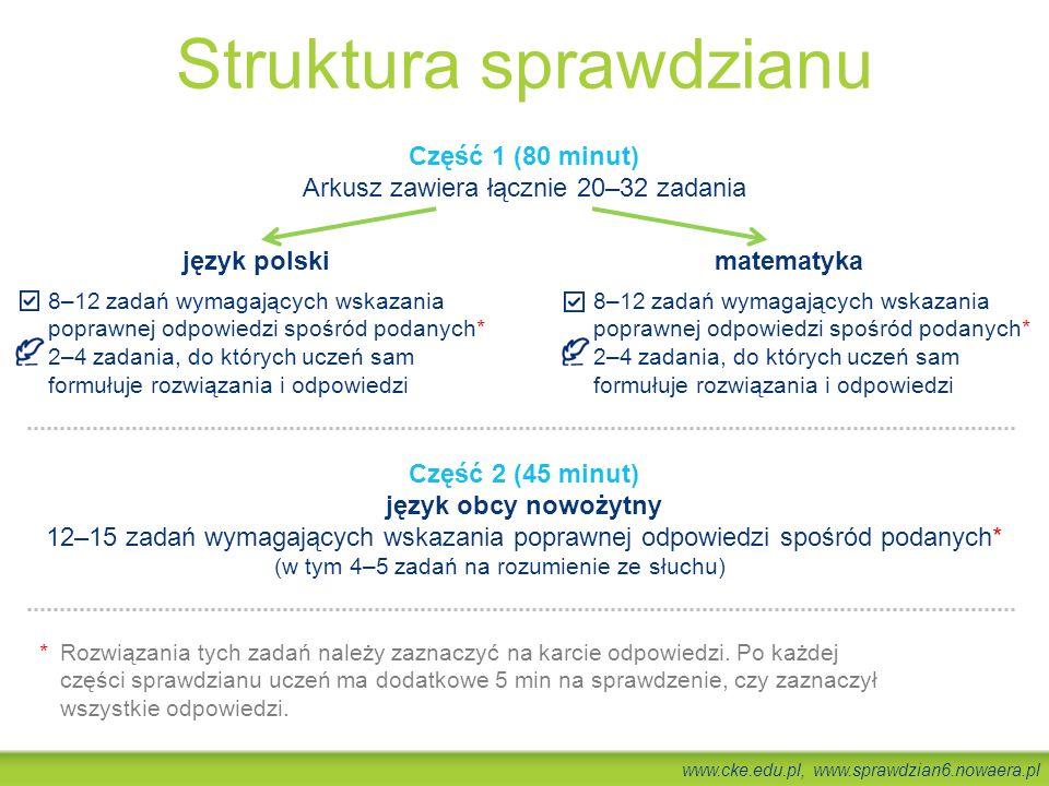 www.cke.edu.pl, www.sprawdzian6.nowaera.pl Część 1 (80 minut) Arkusz zawiera łącznie 20–32 zadania język polski 8–12 zadań wymagających wskazania popr