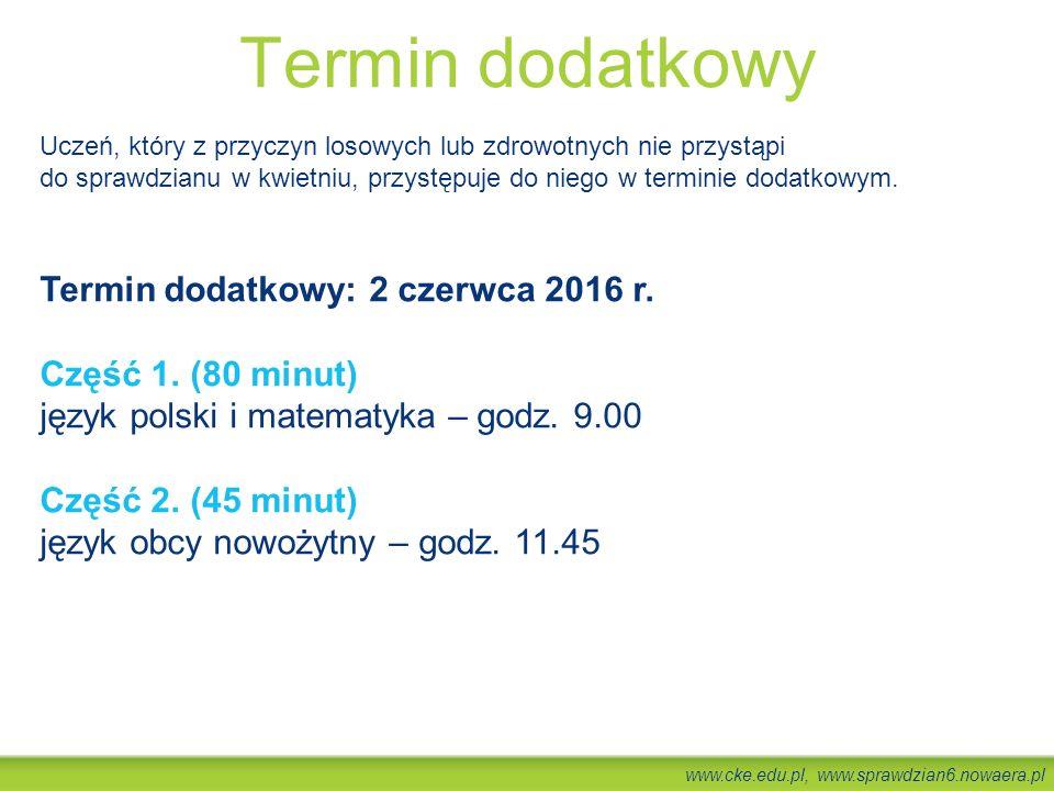 www.cke.edu.pl, www.sprawdzian6.nowaera.pl Termin dodatkowy Uczeń, który z przyczyn losowych lub zdrowotnych nie przystąpi do sprawdzianu w kwietniu,