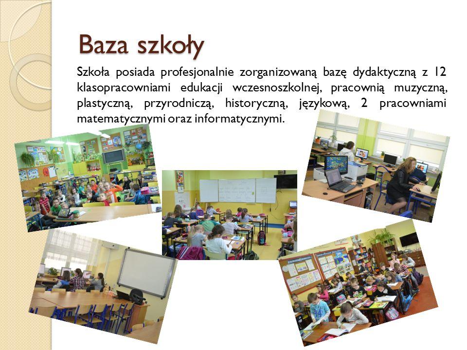 Baza szkoły Szkoła posiada profesjonalnie zorganizowaną bazę dydaktyczną z 12 klasopracowniami edukacji wczesnoszkolnej, pracownią muzyczną, plastyczną, przyrodniczą, historyczną, językową, 2 pracowniami matematycznymi oraz informatycznymi.