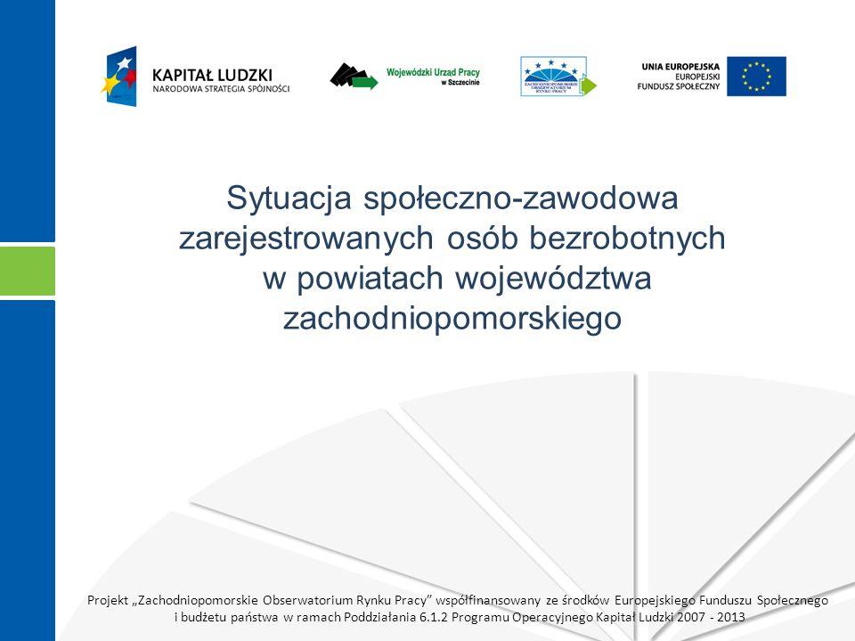 """Projekt """"Zachodniopomorskie Obserwatorium Rynku Pracy współfinansowany ze środków Europejskiego Funduszu Społecznego i budżetu państwa w ramach Poddziałania 6.1.2 Programu Operacyjnego Kapitał Ludzki 2007 - 2013 Źródło: opracowanie własne na podstawie badania."""
