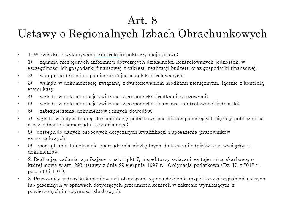 Art. 8 Ustawy o Regionalnych Izbach Obrachunkowych 1.