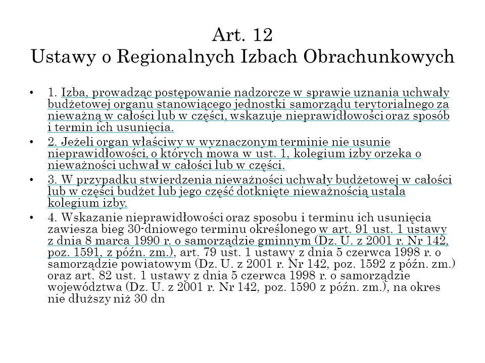 Art. 12 Ustawy o Regionalnych Izbach Obrachunkowych 1. Izba, prowadząc postępowanie nadzorcze w sprawie uznania uchwały budżetowej organu stanowiącego