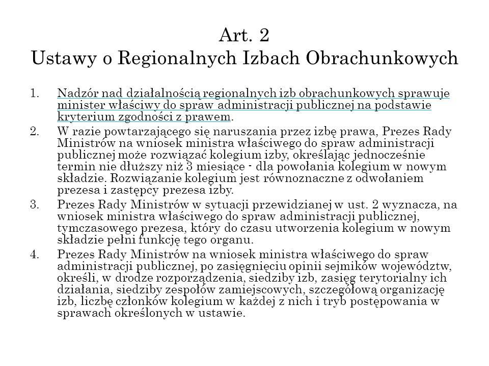 Art. 2 Ustawy o Regionalnych Izbach Obrachunkowych 1.Nadzór nad działalnością regionalnych izb obrachunkowych sprawuje minister właściwy do spraw admi