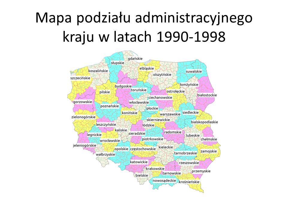 Mapa podziału administracyjnego kraju w latach 1990-1998