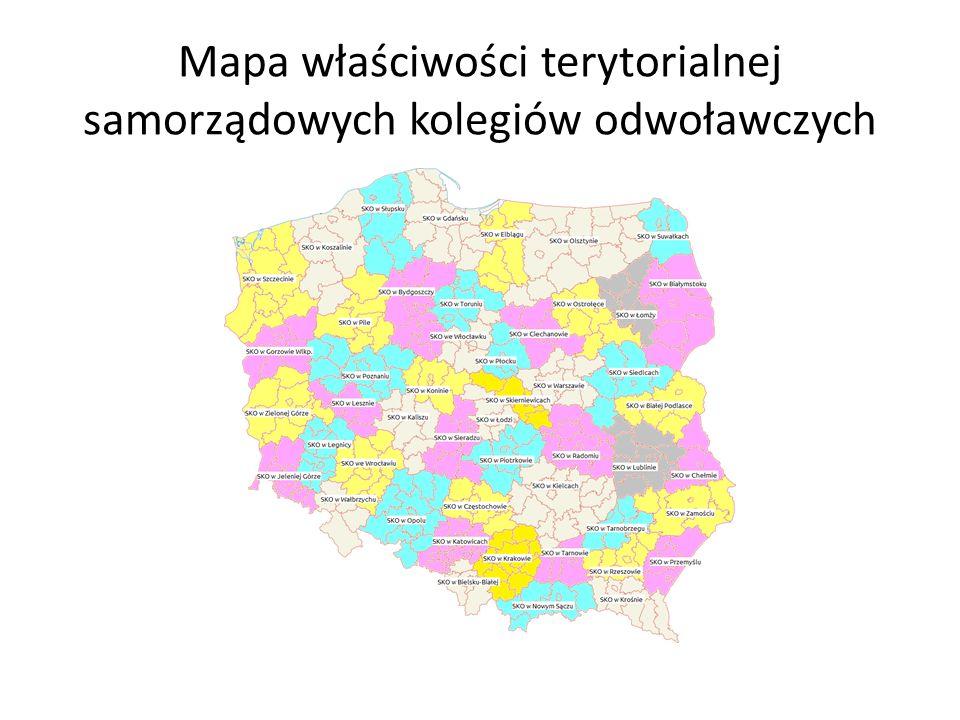 Mapa właściwości terytorialnej samorządowych kolegiów odwoławczych
